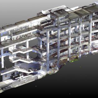 3D計測 大学キャンパス 斜路棟