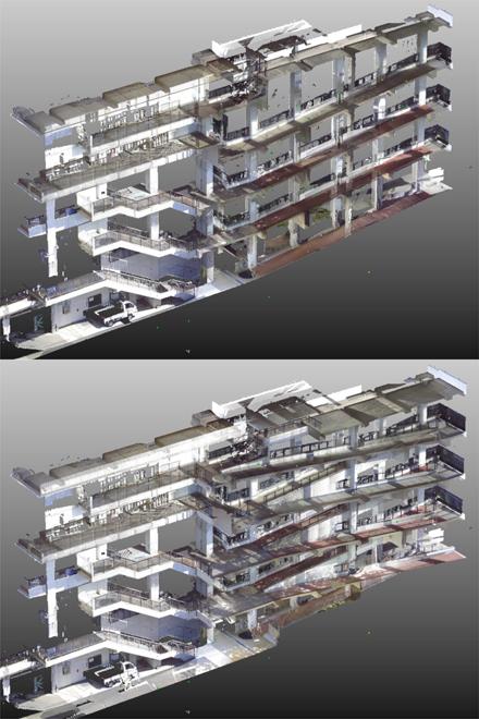 3D計測 大学キャンパス 斜路棟断面作成