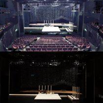 SPAC劇場内に設営された能舞台(上:3 D計測・下:設営後)